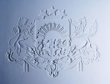 Kinētisks Latvijas valsts ģerbonis Prezidenta darba kabinetā