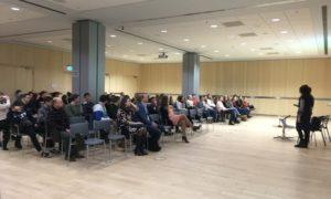 """Kampaņa """"Mācies būvniecību"""" viesojas Latvijas Nacionālajā bibliotēkā 2018.gada 25.janvārī. Auditorijā 120 skolnieki."""