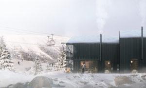 """Nordklint slēpošanas māju ciemats, koka jaunbūve, Varglyan 780 67 Sälen, Sweden. Pasūtītājs """"ORTALIS Group"""". Projekts Vasco Trigueiros, TRIGUEIROS ARCHITECTURE. Būvnieks """"PAVASARS HOUSING CONSTRUCTION"""". Būvuzraudzība """"ORTALIS Group""""."""
