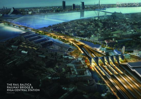 Sešas starptautiskas apvienības sacentīsies par Rail Baltica Rīgas Centrālās pasažieru staciju un tiltu