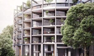 """1.vieta nominācijā """"Ilgtspējīgākais projekts 2018"""" kategorijā """"Komercobjekts"""" daudzdzīvokļu ēka """"River Breeze Residence"""", pasūtītājs """"Klīversala"""", projekts Ventis Didrihsons, """"Didrihsons un Didrihsons"""", būvnieks """"LNK Industries""""."""