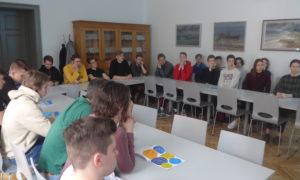 Kampaņa Mācies būvniecību Liepājas valsts 1.ģimnāzijā. Uzstājas UPRK projektu vadītājs Sandis Kirhners.