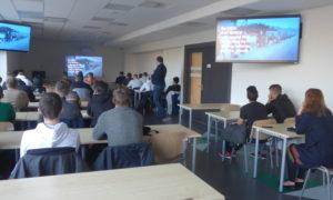 Pie Rīgas Tehniskās universitātes transportbūvju studentiem 2019.gada 30.oktobrī viesojās Rail Batica projektu vadītājs Artūrs Caune un uzņēmuma ViaCon vadītājs Juris Indāns.