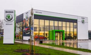 Autosalona ŠKODA kompleksa jaunbūve, Biķernieku iela 125, Rīga, pasūtītājs TKM Latvija , projekts Arhitekta Imanta Timermaņa birojs, būvnieks Aimasa, būvuzraudzība Būves un būvsistēmas.