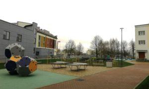 Salaspils 2. vidusskolas teritorijas labiekārtojuma rekonstrukcija ar rotaļu un sporta laukumiem, pasūtītājs Salaspils novada dome, projekts BM-projekts, būvnieks Guliver Construction, būvuzraudzība REIKMAN.