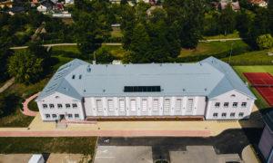 Sporta skolas ēkas pārbūve par sporta halli Jelgavas iela 6, Saldus, pasūtītājs Saldus novada pašvaldība, projekts A Projekts, būvnieks Selva Būve, būvuzraudzība Būves Birojs.