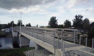 Gājēju tilts pāri Vecgaujai, Carnikavā, pasūtītājs Carnikavas novada dome, projekts Vektors T, būvnieks Tilts, būvuzraudzība Firma L4.