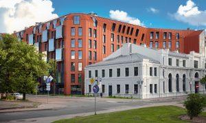Jauna dzīvojamā ēka. Daudzdzīvokļu ēka Lofts&Rosegold Strēlnieku iela 8, Rīga. Pasūtītājs R.Evolution, projekts Arhis Arhitekti, būvnieks LNK INDUSTRIES Partnership, būvuzraudzība P.M.G.
