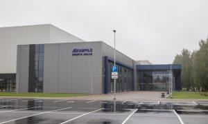 Jauna sabiedriska ēka. Jēkabpils multifunkcionālā sporta halle, Brīvības iela 289B, Jēkabpils. Pasūtītājs Jēkabpils pilsētas pašvaldība, projekts OZOLA & BULA, arhitektu birojs, būvnieks PA PST & ARMS & LC, būvuzraudzība Firma L4.