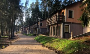 Koka būve. Atpūtas mājiņu jaunbūve AS LVM atpūtas un tūrisma centrā Spāre Dumbri, Ģibuļu pag. Pasūtītājs Latvijas valsts meži, projekts Smilšu pilis, būvnieks Selva Būve, būvuzraudzība PBT.