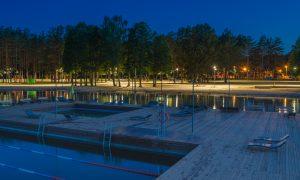 Ārtelpas labiekārtojums. Jauno Stropu promenādes izbūve un pludmales labiekārtojums Daugavpilī. Pasūtītājs Komunālās saimniecības pārvalde, projekts Arhis, būvnieks Latgales Ceļdaris, būvuzraugs RoadLat.