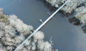 Ārtelpas labiekārtojums. Gājēju tilta pār Irbes upi atjaunošana, Tārgales pagastā, Ventspils novadā Pasūtītājs Ventspils novada pašvaldība, projekts, būvnieks M.A.Taka-7, būvuzraugs Tiltu būvnieks.